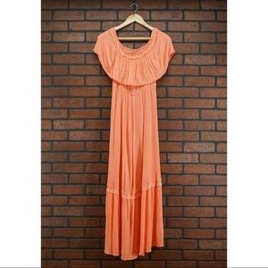 FLYING TOMATO Coral Off Shoulder Maxi Dress Size M